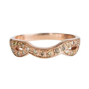 Mia Chicco, Champagne Pavé Diamond & 9ct Rose Gold Curved Ring, Tomfoolery