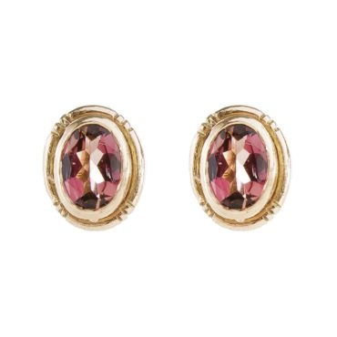 Mia Chicco, Pink Tourmaline & 9ct Rose Gold Stud Earrings, Tomfoolery