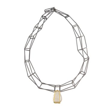 Jacek Byczewski, Steel & Gold Multi Row Rutilated Quartz Necklace, Tomfoolery