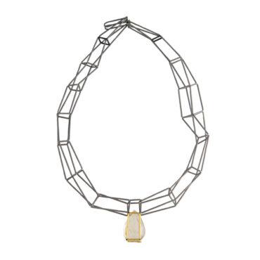Jacek Byczewski, Steel & Gold Multi Row Rutilated Quartz Necklace, Tomfoolery