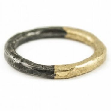tf Collective, 18k Yellow Gold & Oxidised Silver Ring, tomfoolery