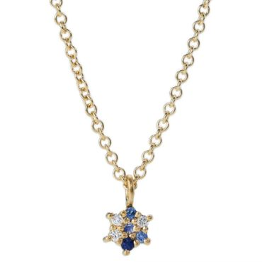 Maya Selway, Worn Small Diamond & Blue Sapphire Pendant Necklace, Tomfoolery