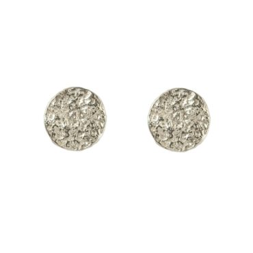 Samantha Queen, Textured Silver Round Stud Earrings, Tomfoolery