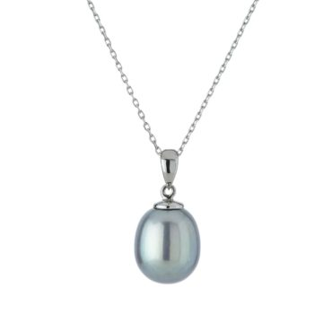 tf Pearls, 9ct White Gold Light Grey Pearl Pendant, Tomfoolery