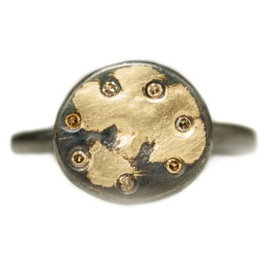 Samantha Queen, Diamond, Oxidised Silver & 18ct Gold Ring, Tomfoolery