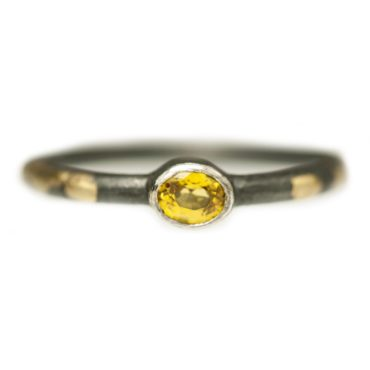 Samantha Queen, Yellow Sapphire, Oxidised Silver & 18ct Gold Ring, Tomfoolery