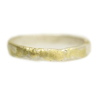 Samantha Queen, Slim Textured Silver & 18ct Gold Ring, Tomfoolery