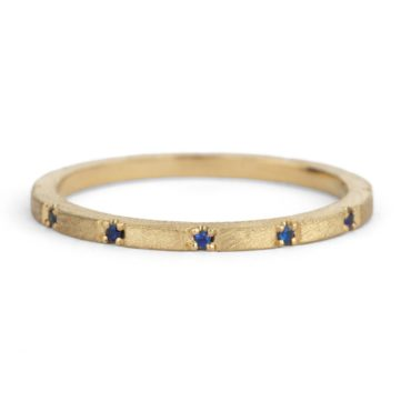 Shimell & Madden, Sapphire & 18ct Yellow Gold Textured Duodecimal Ring, Tomfoolery