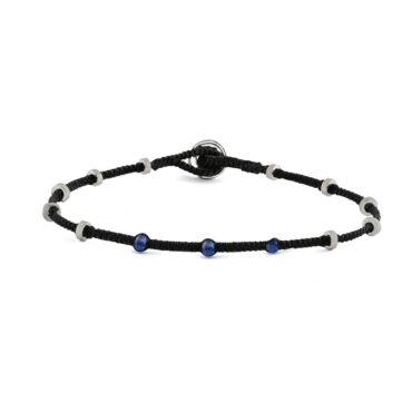 Tateossian, Sapphire Macramé Lusso Dotted Silver Bracelet, Tomfoolery