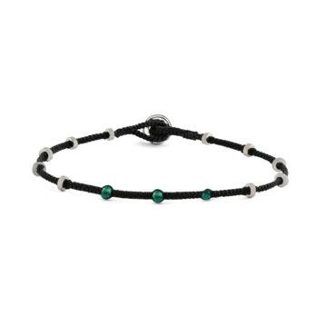 Tateossian, Emerald Macramé Lusso Dotted Silver Bracelet, Tomfoolery