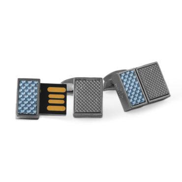 Tateossian, Rhodium-Plated & Blue Carbon Fibre USB Cufflinks, Tomfoolery
