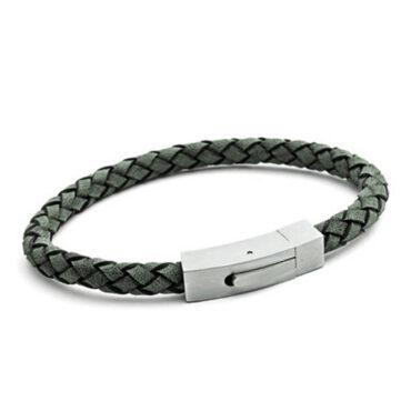 TBL, Men's Plaited Leather Bracelet in Grey, Tomfoolery