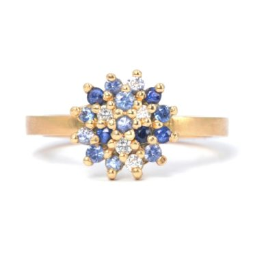 Maya Selway, Worn Sapphire & Diamond 18ct Yellow Gold Ring, Tomfoolery