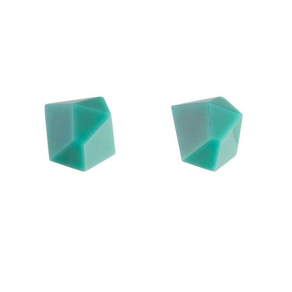 tomfoolery: teal faceted stud earrings by Beira