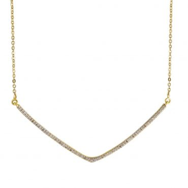 Shana Gulati, Diamond & Gold-Plated Silver Large V Necklace, Tomfoolery