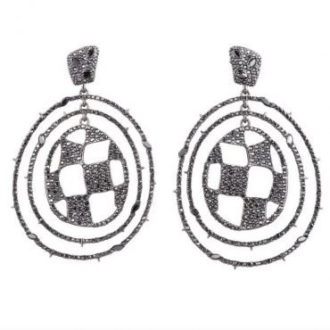 Tomfoolery: Alexis Bittar London Pave Checkerboard Orbiting Post Earrings