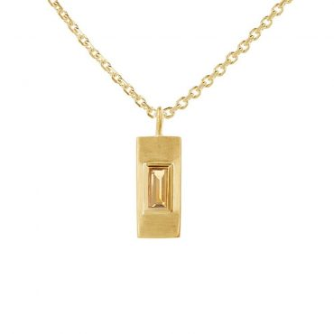 tomfoolery: Gold Plated Baguette Cut Gemstone Pendant, Everyday by tomfoolery