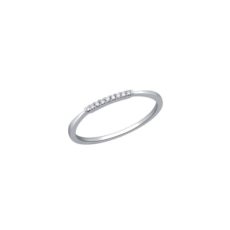 tf Collective, Diamond & White Gold Plated Tapered Ring , Tomfoolery