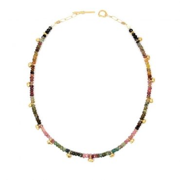 tomfoolery: One of A Kind Tourmaline and Gold Grain Necklace by Bea Jareno