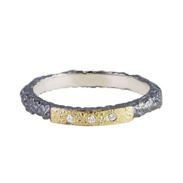 tomfoolery: Oxidised Silver and Tripple Diamond Ring by apostolos