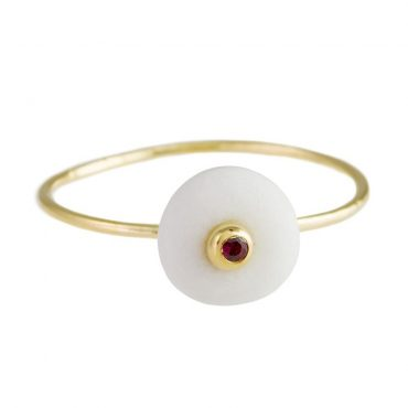 tomfoolery: 18 carat gold & ruby pebble ring by atelier errikos
