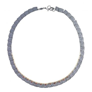 Tomfoolery, Aposotolos, Oxidised Silver Textured Ruby Tag Necklace