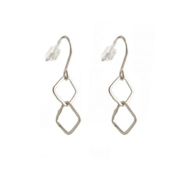 tomfoolery: Silver Double Irregular Link Earrings by Be a Jareno