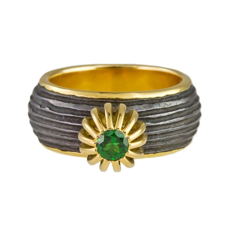 tomfoolery: One Of A Kind 'Tsavorite, Iron & 18ct Gold' Art Ring by Atelier Errikos, Art Ring