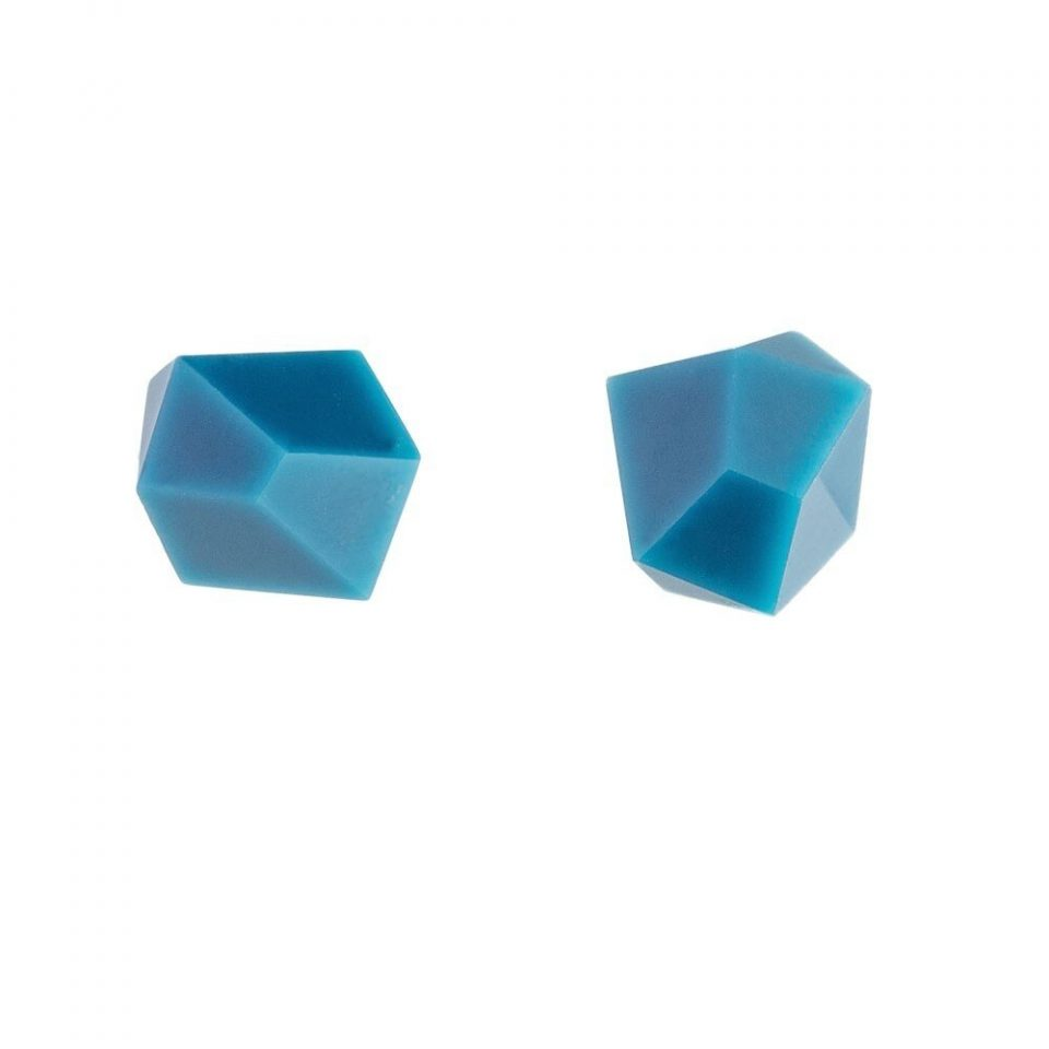 tomfoolery: deep blue faceted stud earrings by Beira