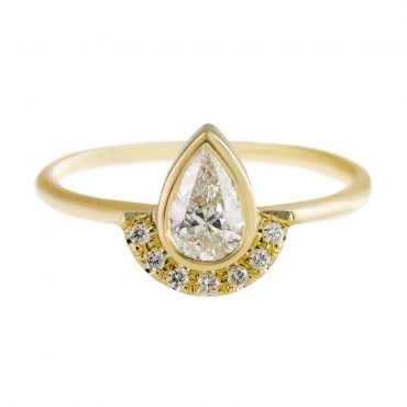 tomfoolery: Pear Diamond Engagement Ring With Half Diamond Halo by Artemer