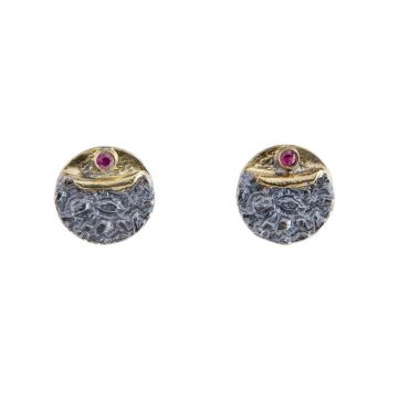 Oxidised Silver Textured Round Ruby Studs