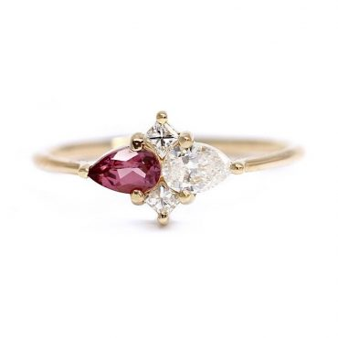 tomfoolery, pear and red garnet engagement ring by artemer
