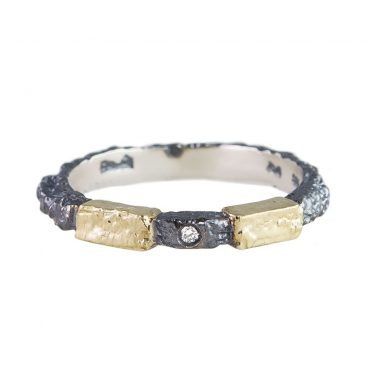 tomfoolery: Oxidised Silver and Diamond Step Ring  by Apostolos