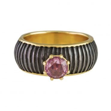 tomfoolery: One Of A Kind 'Pink Sapphire, Iron & 18ct Gold' Art Ring by Atelier Errikos, Art Ring