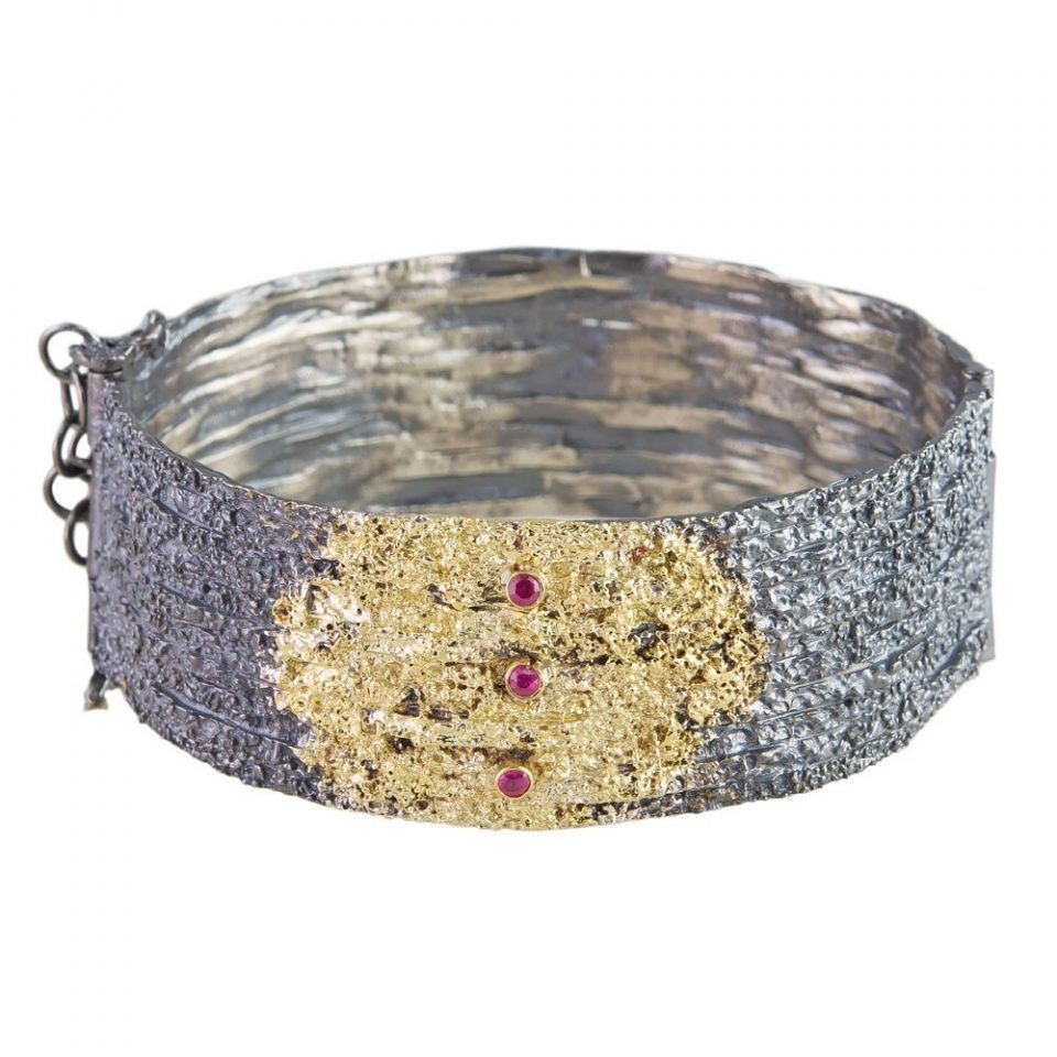tomfoolery, Oxidised Silver Textured Ruby Hinged Bangle by Aposotolos