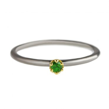 tomfoolery: Rhodium Plated Silver & 14 Carat Gold Emerald Ring by Atelier Errikos