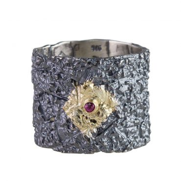 Tomfoolery, Apostolos: Oxidised Silver and Diamond Wide Band