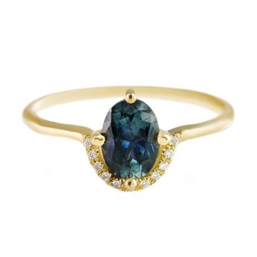 tomfoolery: teal sapphire engagement ring