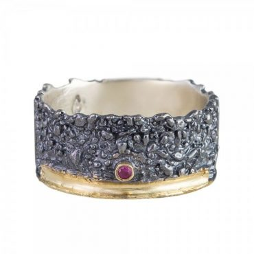 tomfoolery: Apostolos, Oxidised Silver and Single Ruby Wide Band