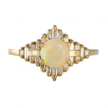 tomfoolery: Opal Engagement Ring With Baguette Diamonds by artemer