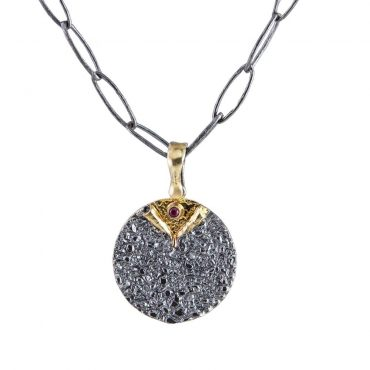 tomfoolrey, Oxidised Silver Textured Ruby Reveal Necklace by apostolos