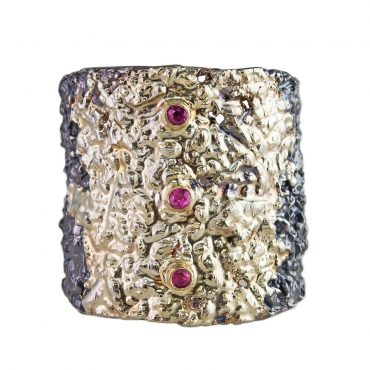 tomfoolery: Apostolos, Oxidised Silver Textured Triple Ruby Ring