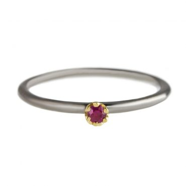 tomfoolery: Rhodium Plated Silver & 14 Carat Gold Ruby  Ring by Atelier Errikos
