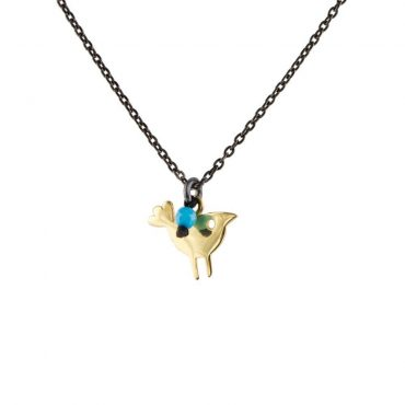 tomfoolery: 14ct Gold & Turquoise Tiny Bird Pendan