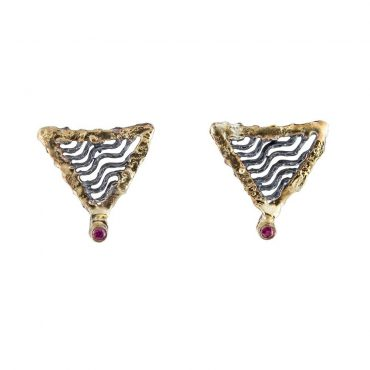 tomfoolery: Oxidised Silver and Ruby Wave Earrings by Apostolos