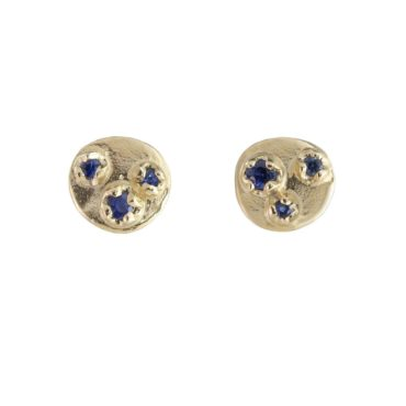 n+a New York, Blue Sapphire & 14ct Yellow Gold Shield Studs, Tomfoolery