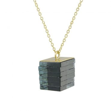 Rosa Mendez, Black Glass Stack Rectangle Necklace, Tomfoolery