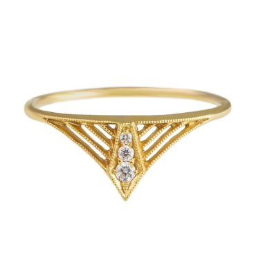 tomfoolery, 14ct Yellow Gold Diamond Vela Ring, dmd