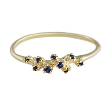n+a New York, Blue Sapphire & 14ct Yellow Gold Three Cluster Ring, Tomfoolery
