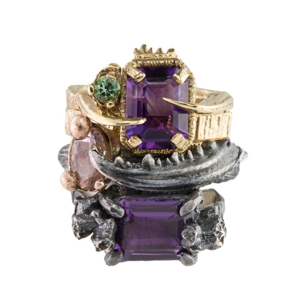 tomfoolery, 9ct Yellow Gold, Amethyst & Tourmaline 'Fiji Mermaid' Ring, Eily O'Connell